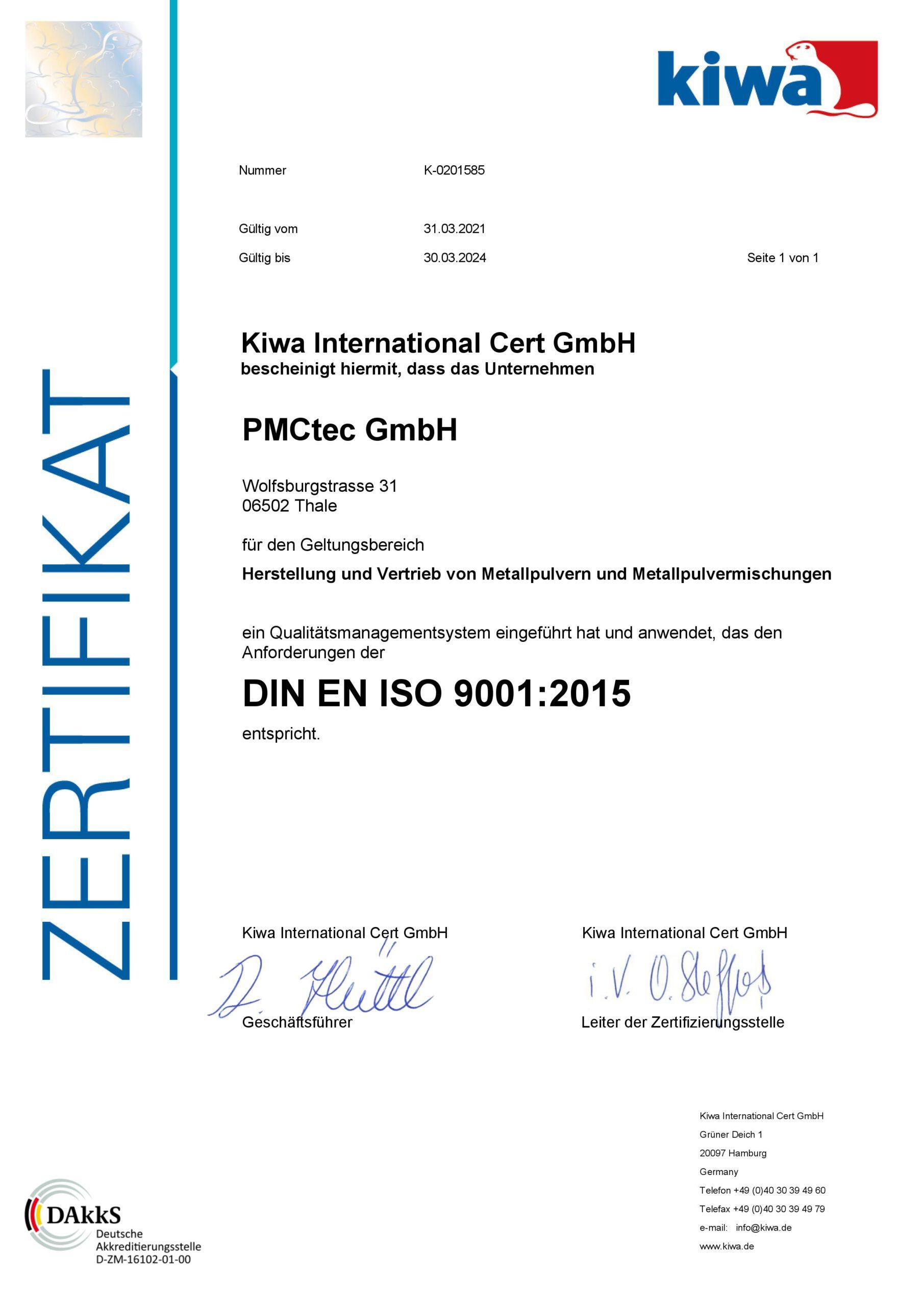 ISO9001:2015 Deutsch